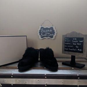 Coach leather fur mule size 10